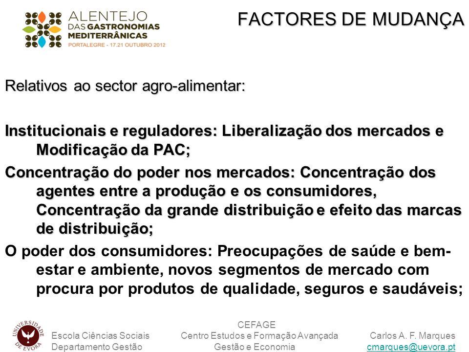 FACTORES DE MUDANÇA Relativos ao sector agro-alimentar: