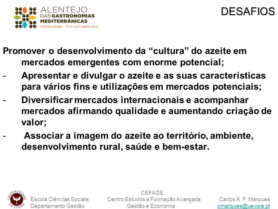 DESAFIOS Promover o desenvolvimento da cultura do azeite em mercados emergentes com enorme potencial;