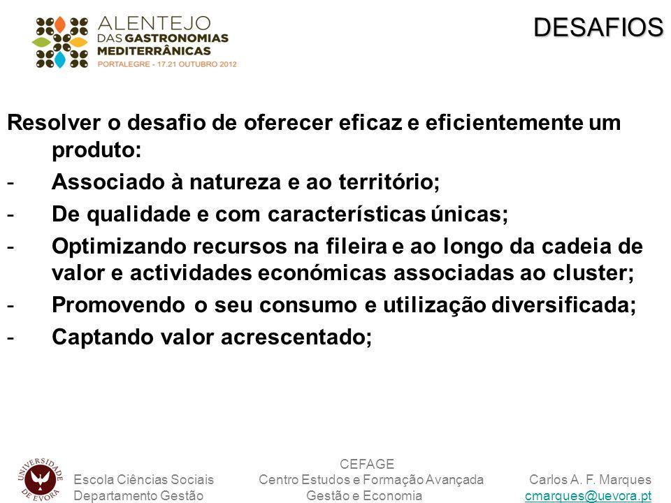 DESAFIOS Resolver o desafio de oferecer eficaz e eficientemente um produto: Associado à natureza e ao território;