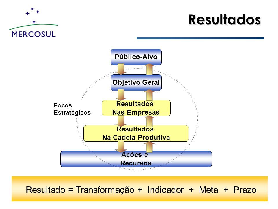 Resultado = Transformação + Indicador + Meta + Prazo