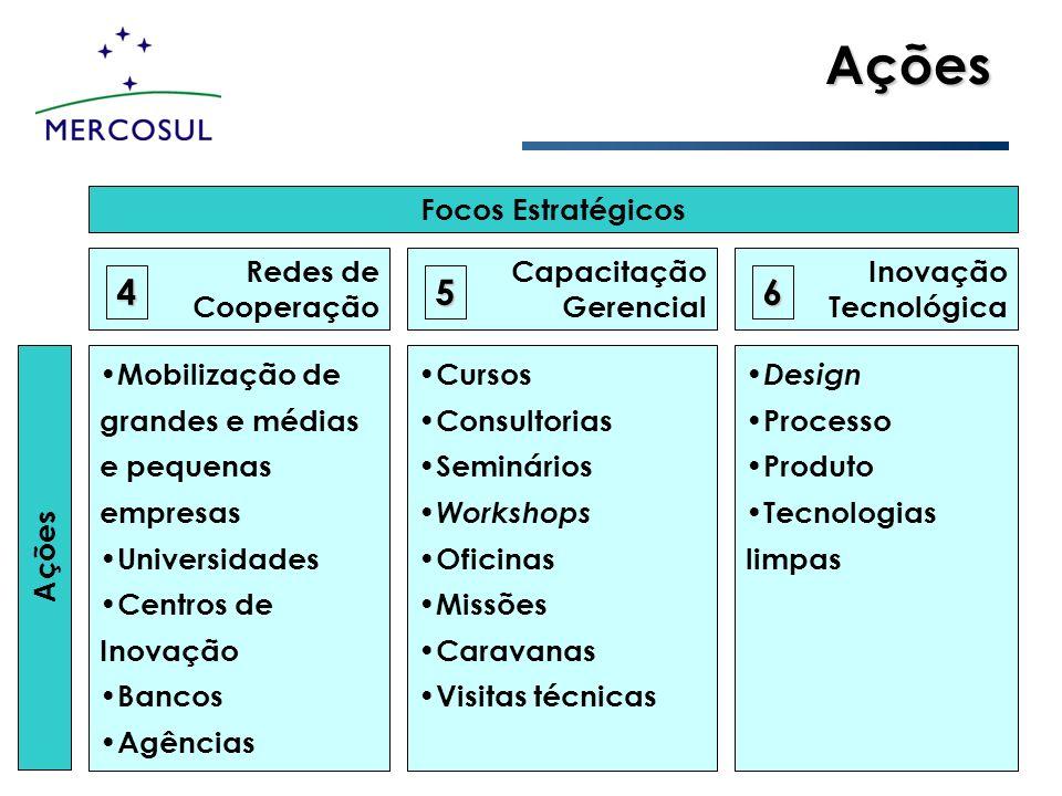 Ações 4 5 6 Focos Estratégicos Redes de Cooperação