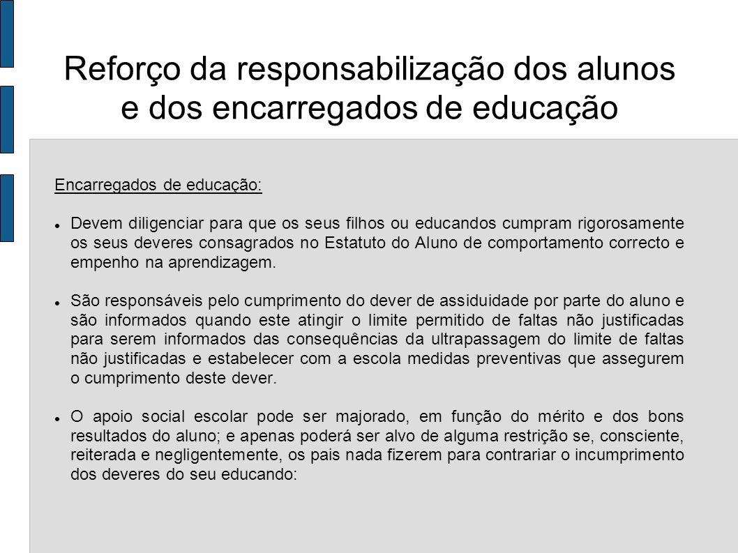 Reforço da responsabilização dos alunos e dos encarregados de educação