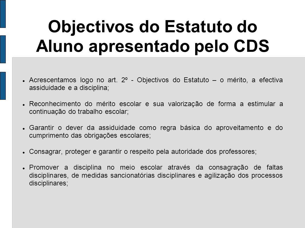 Objectivos do Estatuto do Aluno apresentado pelo CDS