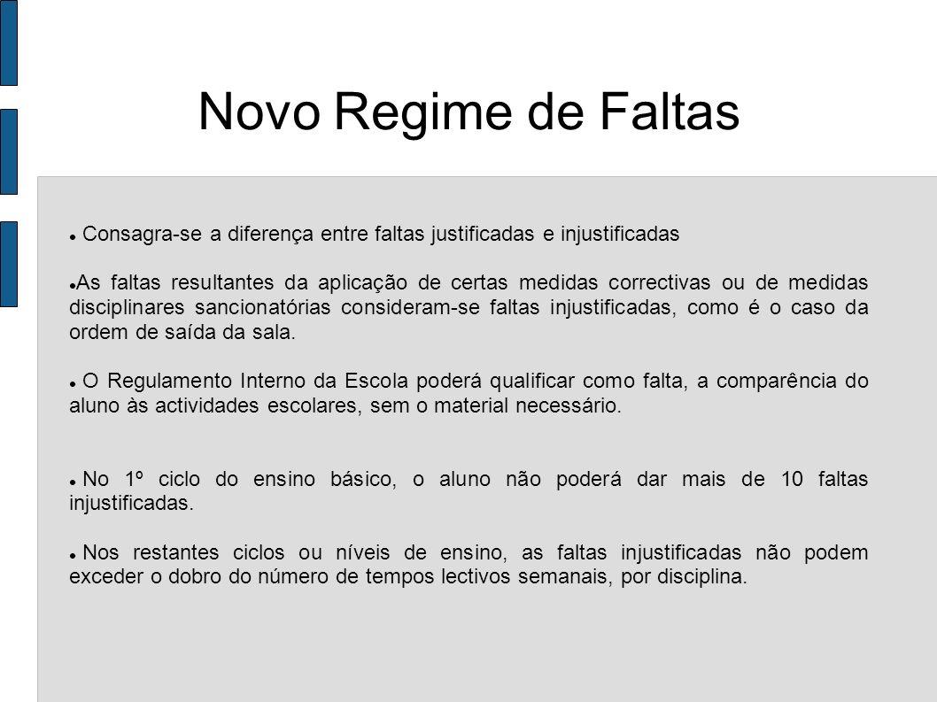 Novo Regime de FaltasConsagra-se a diferença entre faltas justificadas e injustificadas.