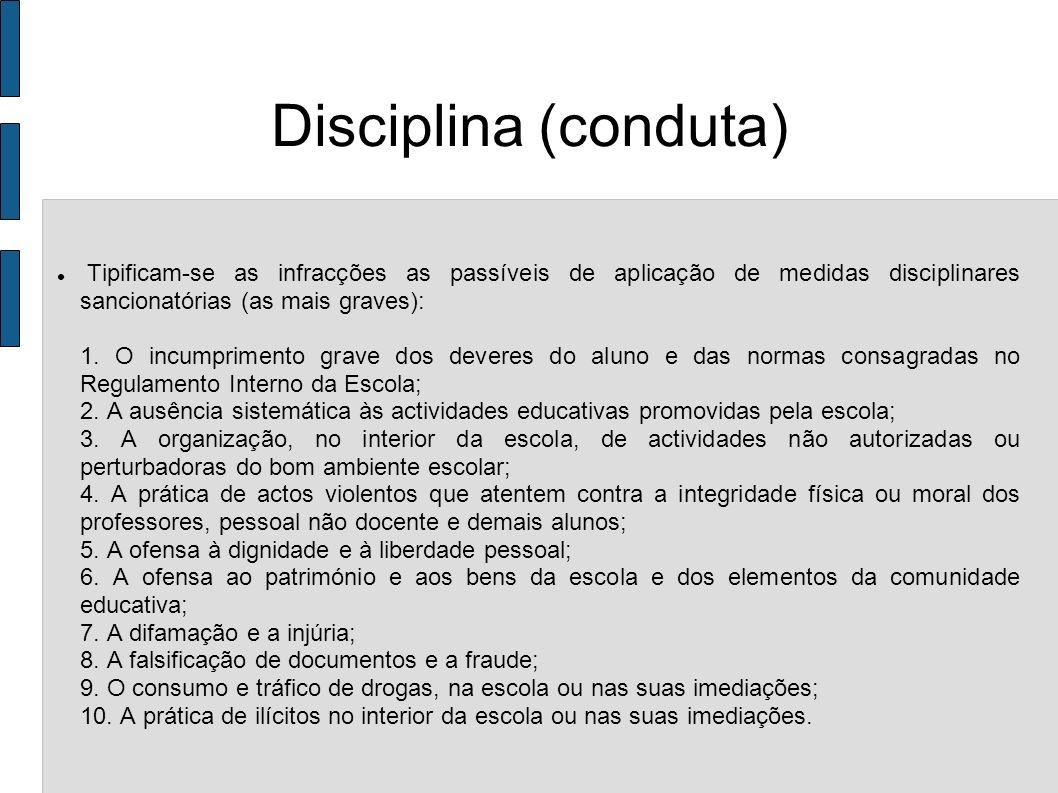 Disciplina (conduta) Tipificam-se as infracções as passíveis de aplicação de medidas disciplinares sancionatórias (as mais graves):