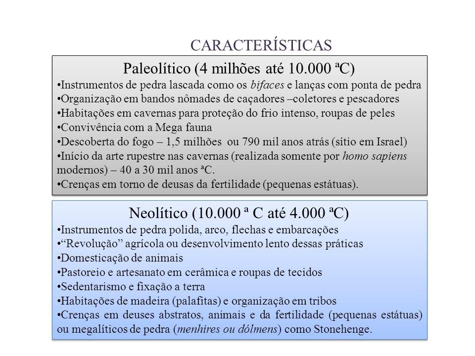 Paleolítico (4 milhões até 10.000 ªC)