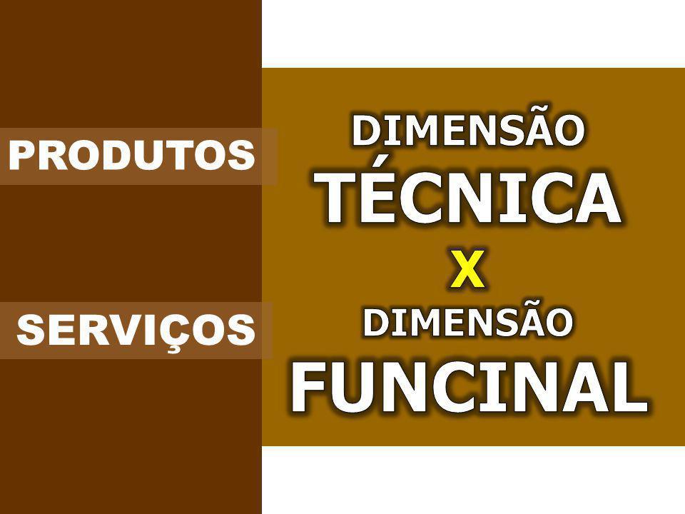 DIMENSÃO TÉCNICA X DIMENSÃO FUNCINAL PRODUTOS SERVIÇOS