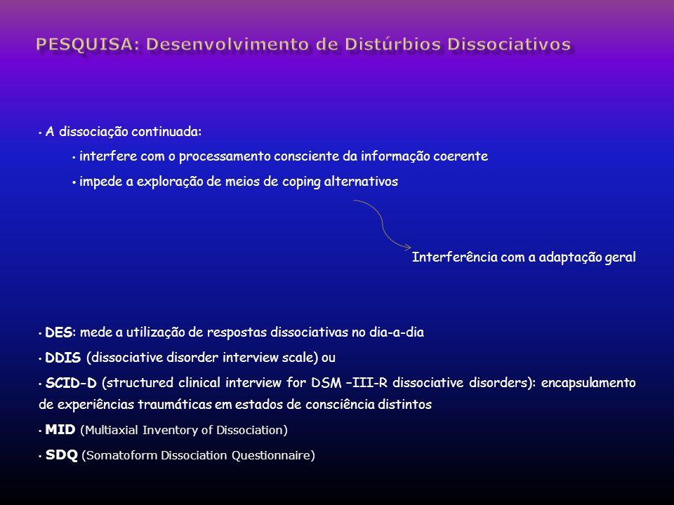 PESQUISA: Desenvolvimento de Distúrbios Dissociativos