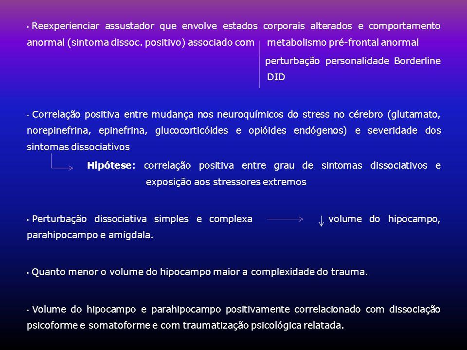 Reexperienciar assustador que envolve estados corporais alterados e comportamento anormal (sintoma dissoc. positivo) associado com metabolismo pré-frontal anormal
