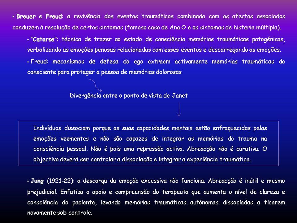 Breuer e Freud: a revivência dos eventos traumáticos combinada com os afectos associados conduzem à resolução de certos sintomas (famoso caso de Ana O e os sintomas de histeria múltipla).