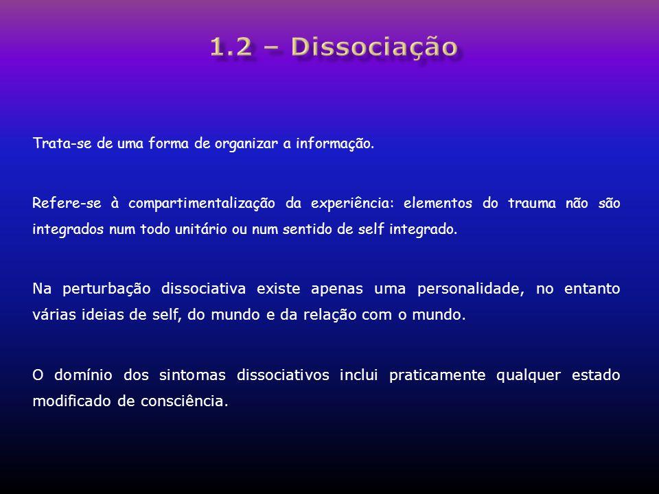 1.2 – Dissociação Trata-se de uma forma de organizar a informação.