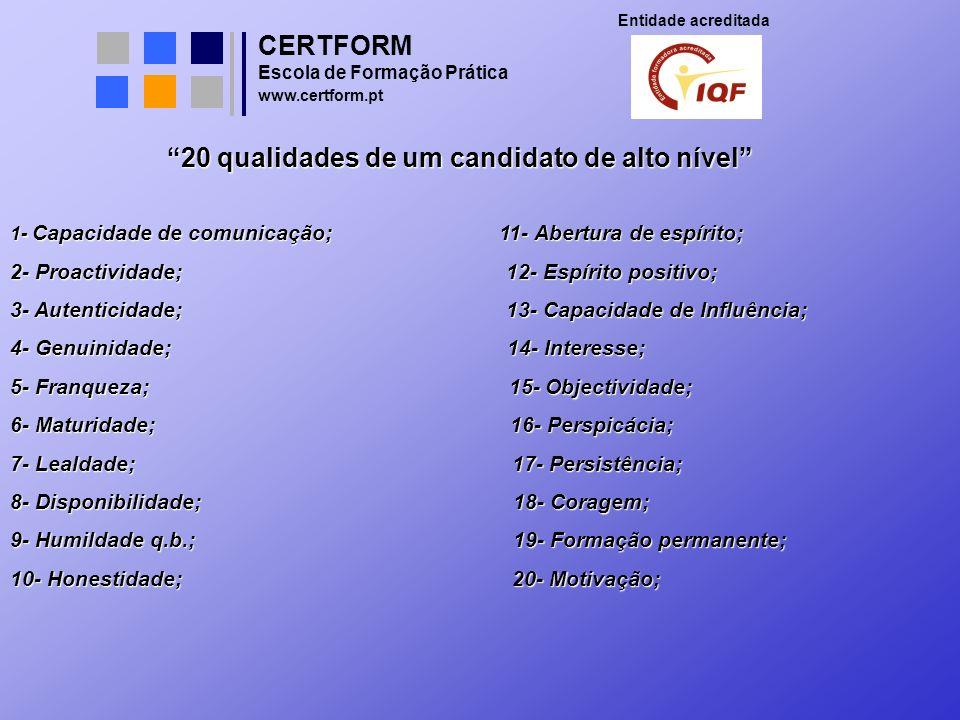 20 qualidades de um candidato de alto nível