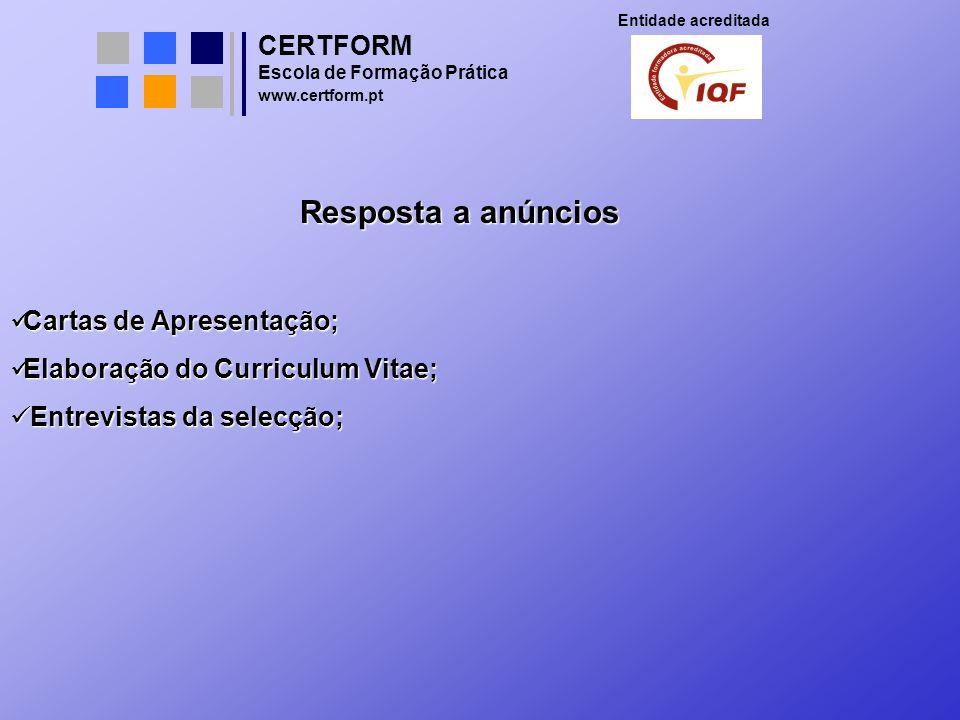Resposta a anúncios CERTFORM Cartas de Apresentação;