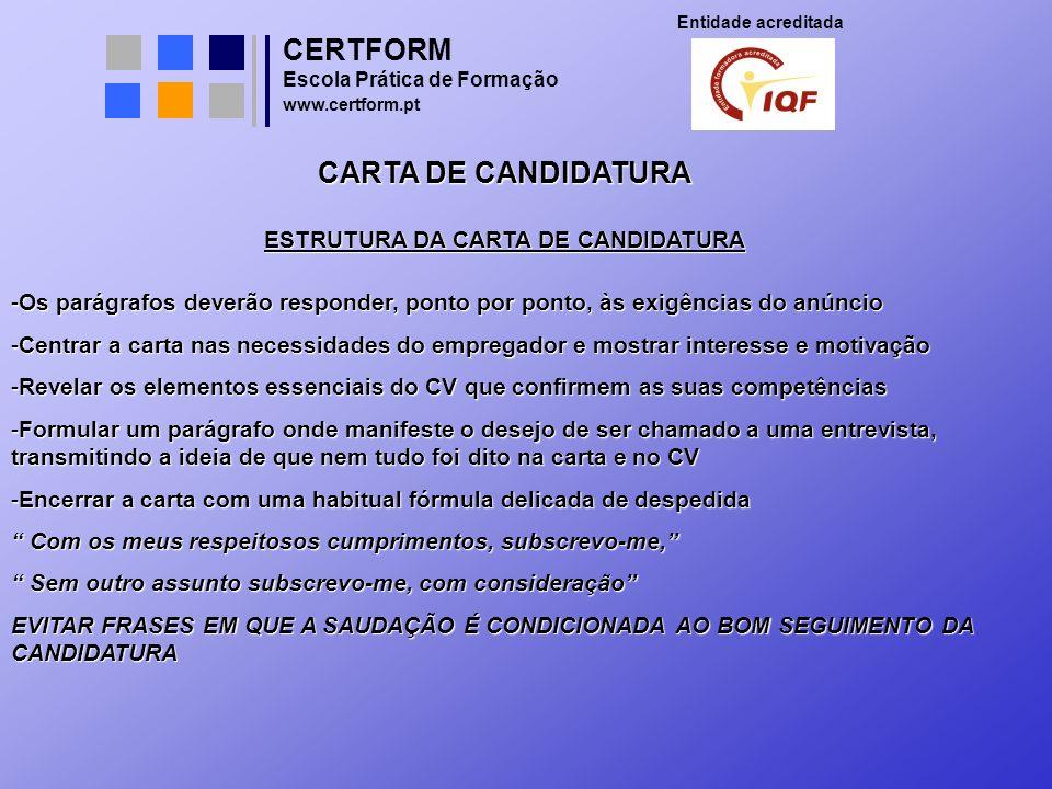 ESTRUTURA DA CARTA DE CANDIDATURA