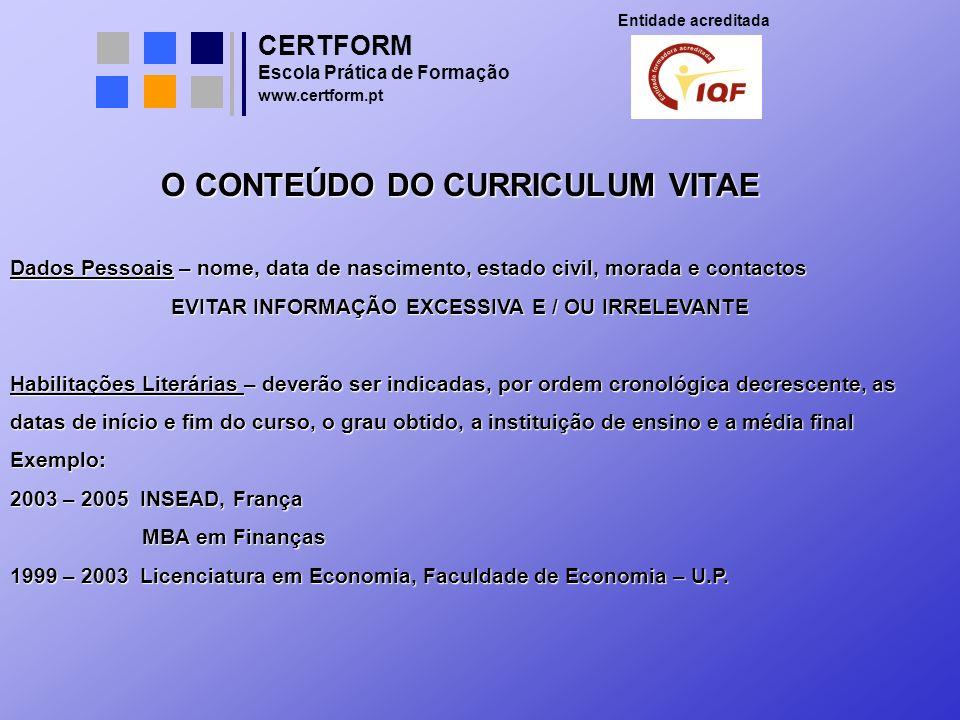 O CONTEÚDO DO CURRICULUM VITAE