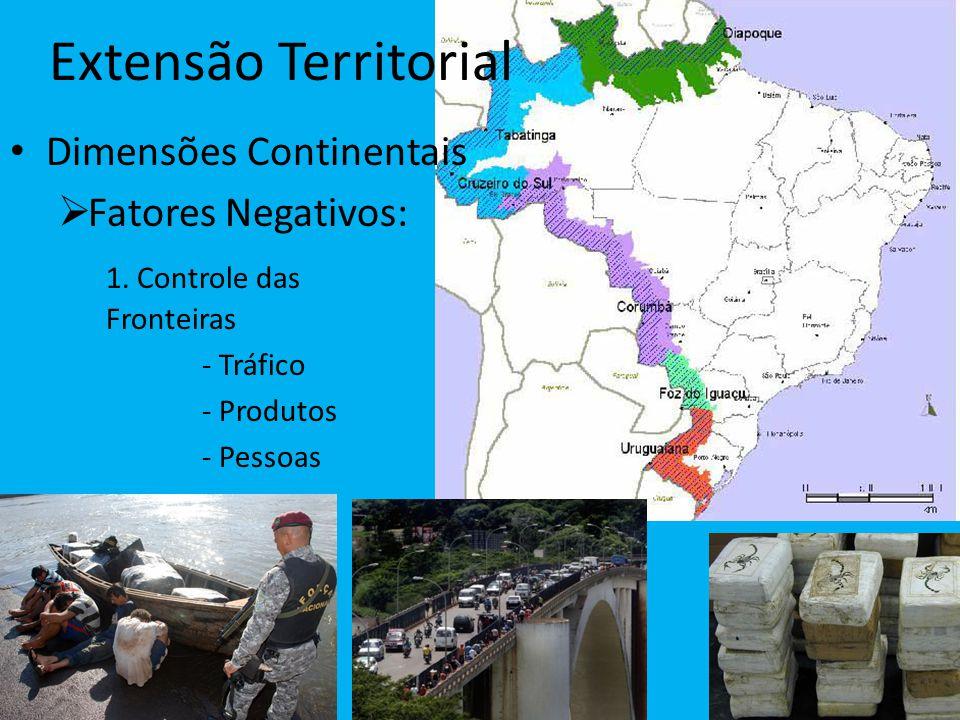 Extensão Territorial Dimensões Continentais Fatores Negativos: