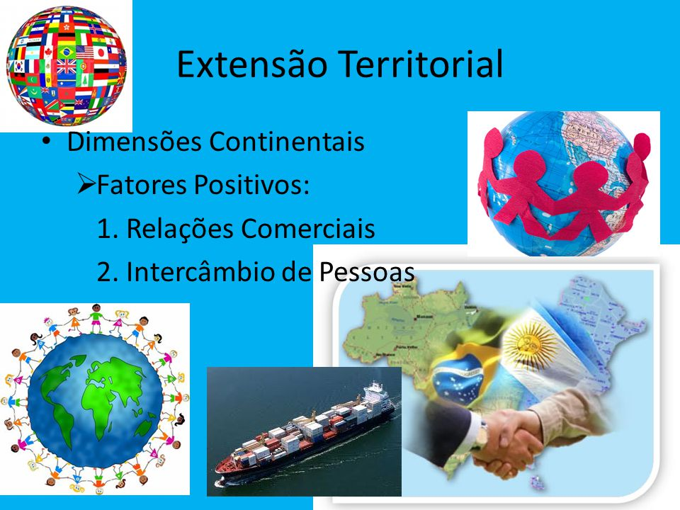 Extensão Territorial Dimensões Continentais Fatores Positivos:
