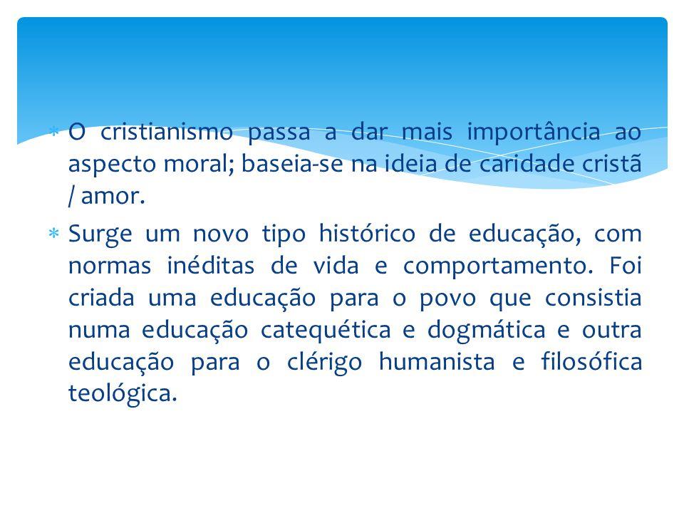 O cristianismo passa a dar mais importância ao aspecto moral; baseia-se na ideia de caridade cristã / amor.