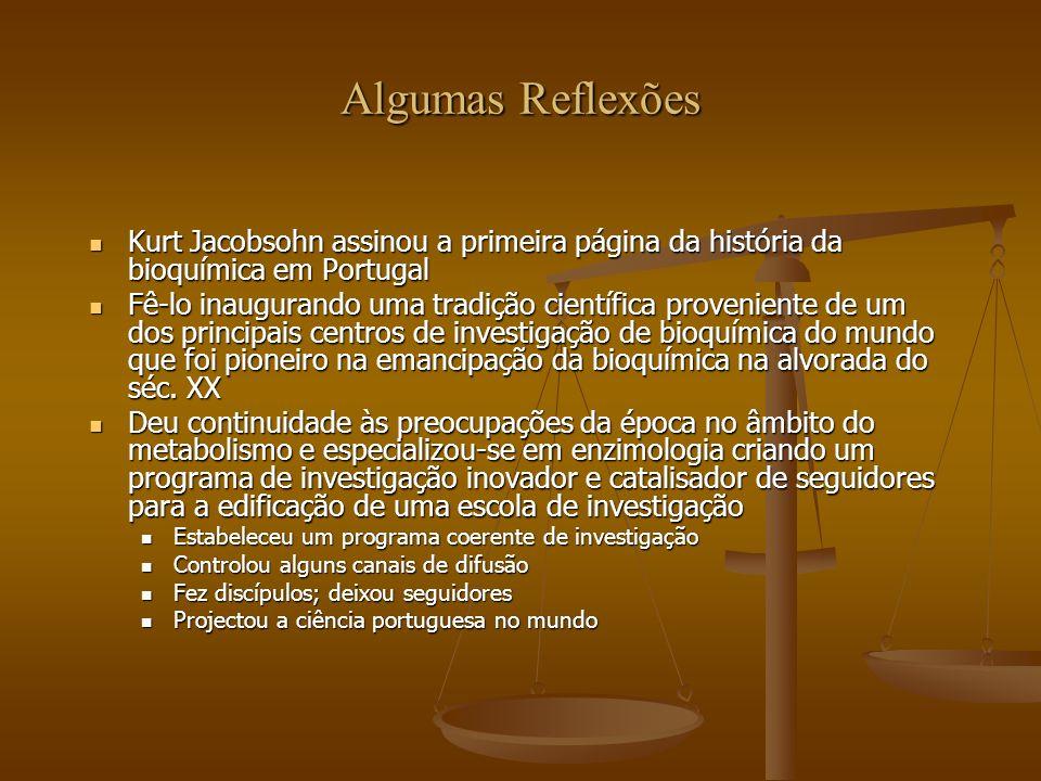 Algumas ReflexõesKurt Jacobsohn assinou a primeira página da história da bioquímica em Portugal.