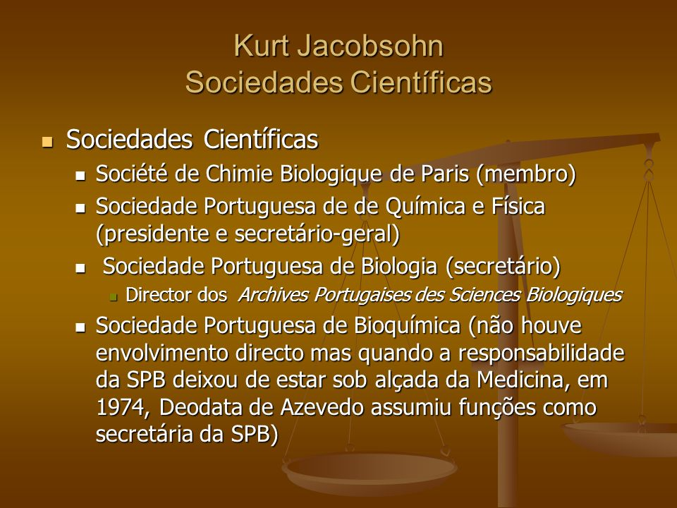 Kurt Jacobsohn Sociedades Científicas
