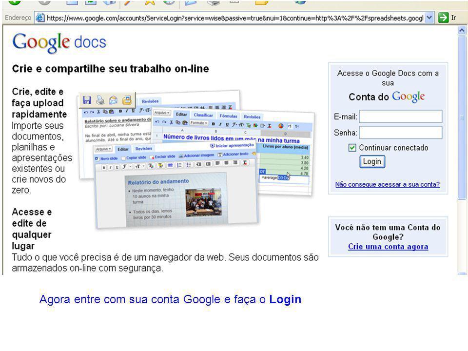 Agora entre com sua conta Google e faça o Login