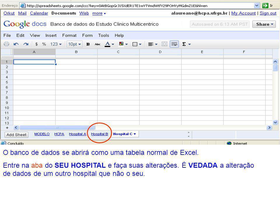 O banco de dados se abrirá como uma tabela normal de Excel.