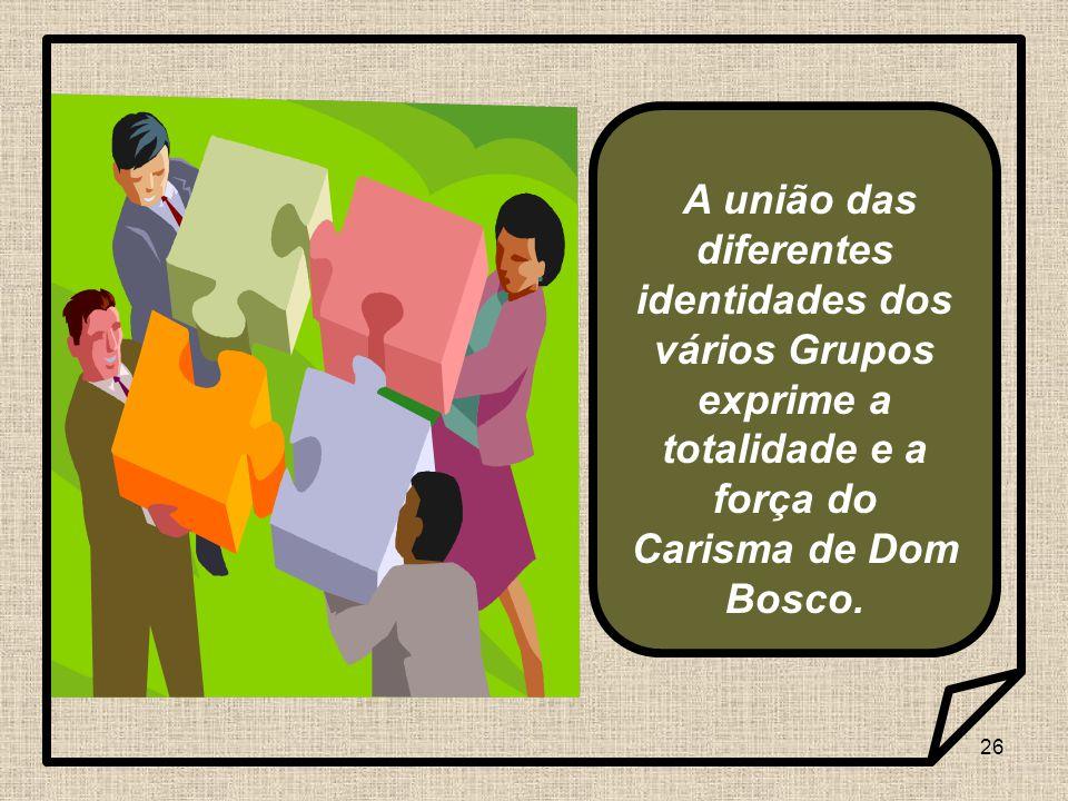 A união das diferentes identidades dos vários Grupos exprime a totalidade e a força do Carisma de Dom Bosco.