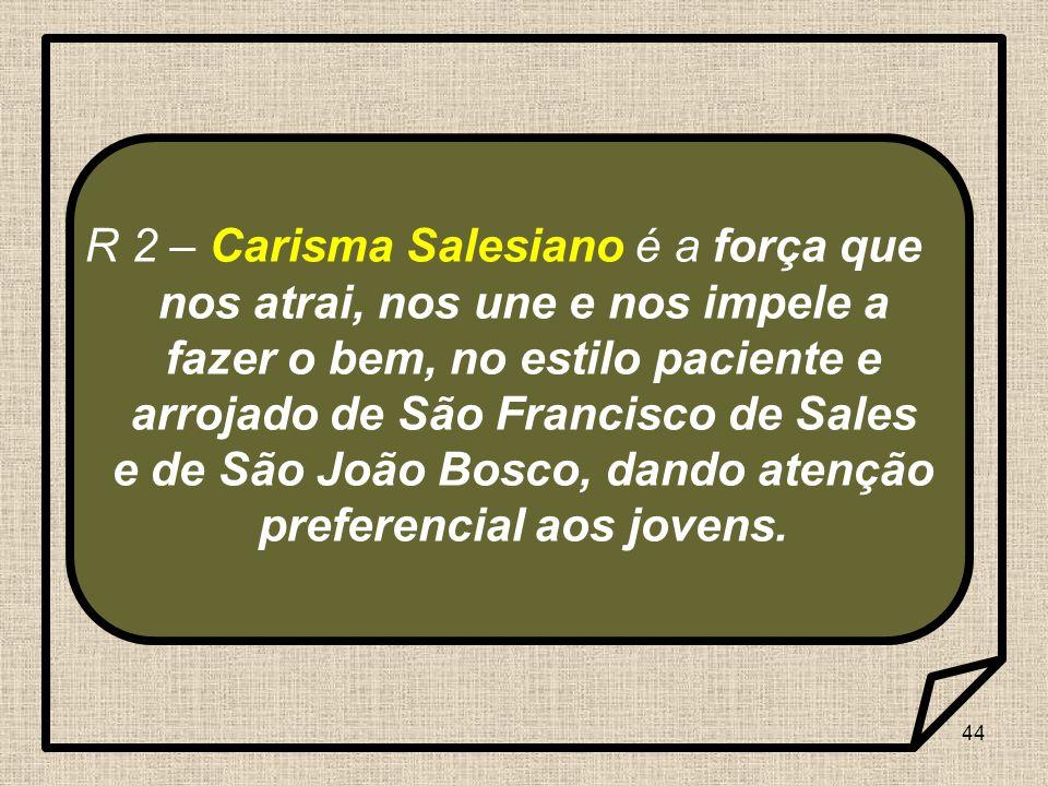 R 2 – Carisma Salesiano é a força que nos atrai, nos une e nos impele a fazer o bem, no estilo paciente e arrojado de São Francisco de Sales e de São João Bosco, dando atenção preferencial aos jovens.