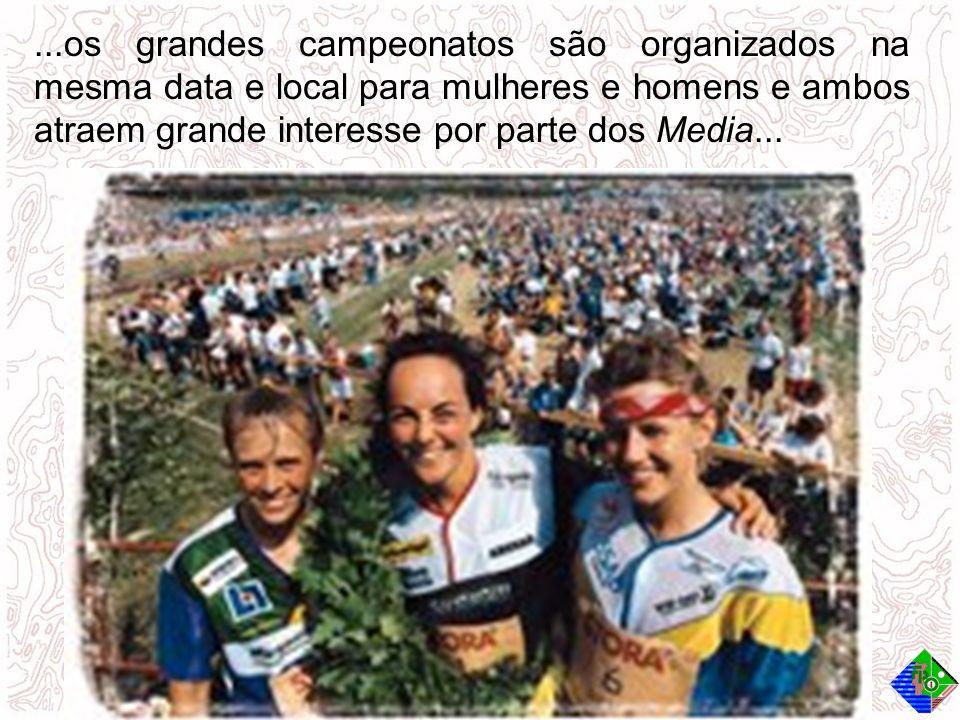 ...os grandes campeonatos são organizados na mesma data e local para mulheres e homens e ambos atraem grande interesse por parte dos Media...