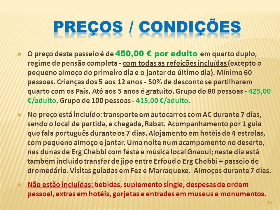 PREÇOS / condições