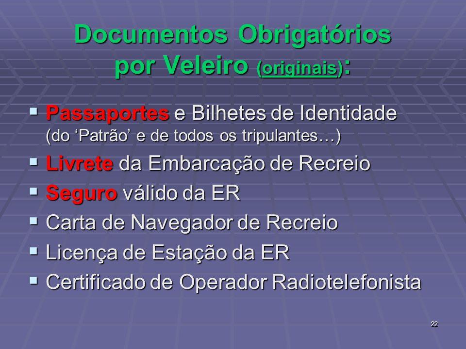 Documentos Obrigatórios por Veleiro (originais):