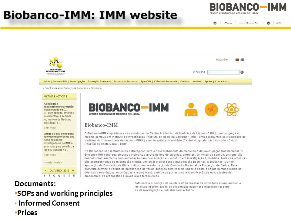 Biobanco-IMM: IMM website