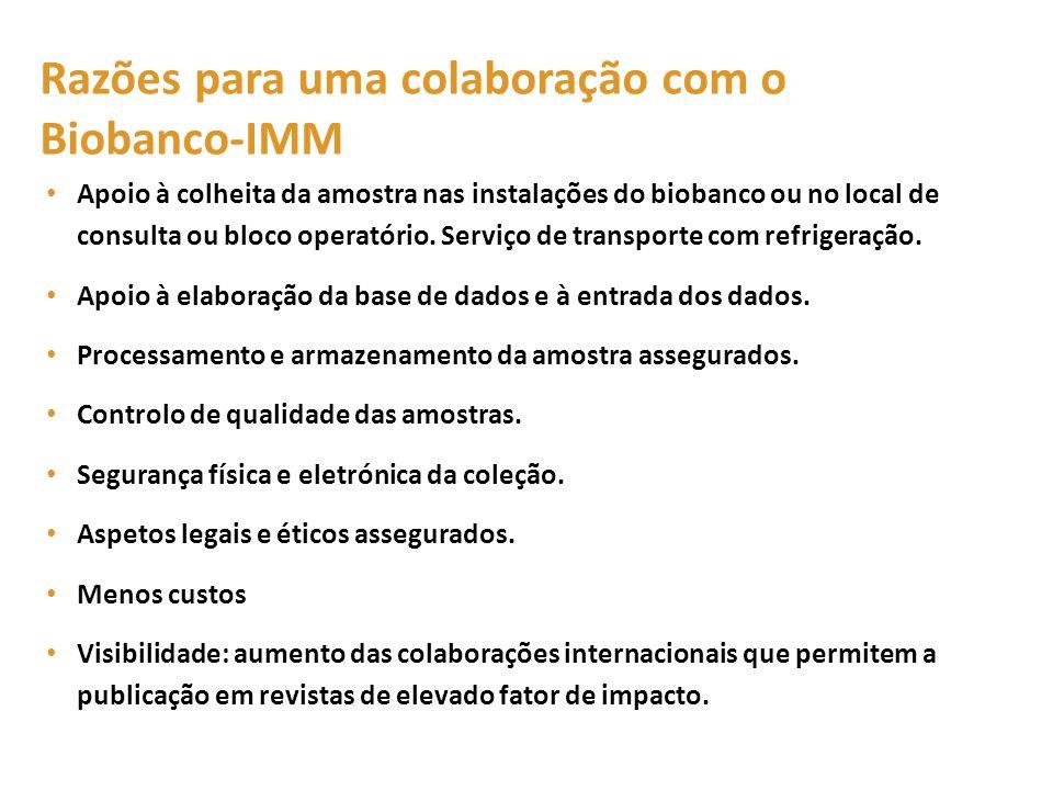 Razões para uma colaboração com o Biobanco-IMM
