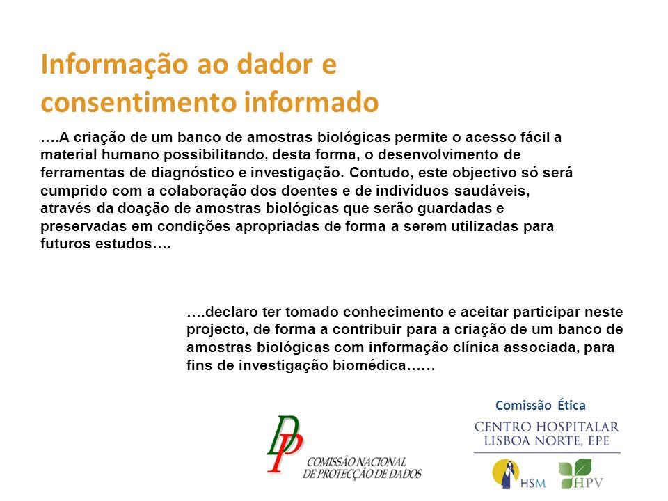 Informação ao dador e consentimento informado