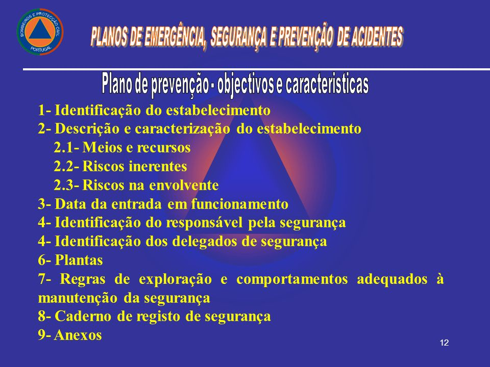 Plano de prevenção - objectivos e caracteristicas