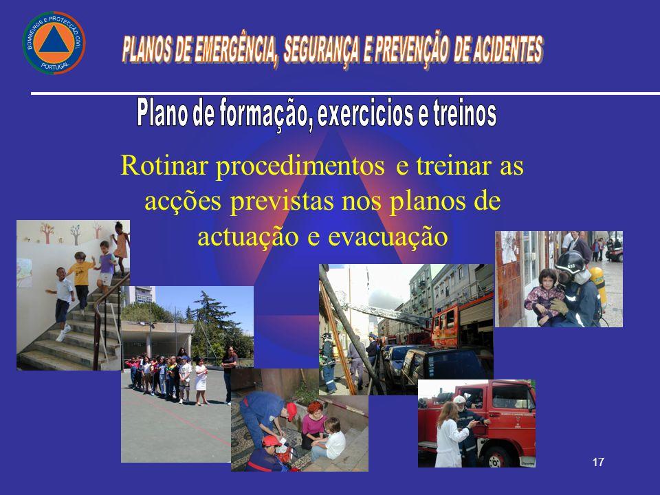Plano de formação, exercicios e treinos