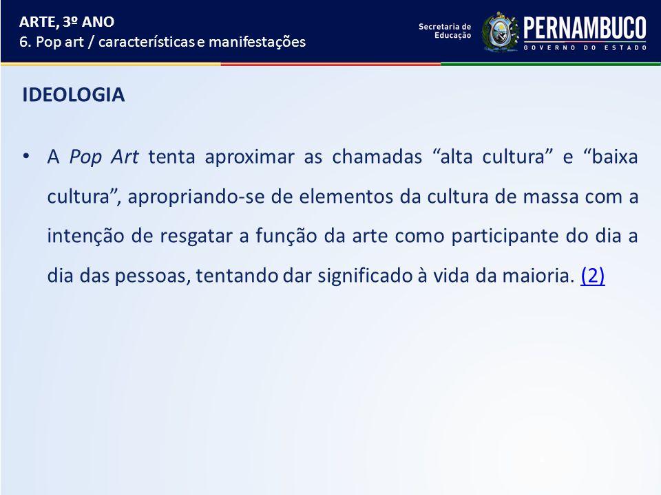 ARTE, 3º ANO 6. Pop art / características e manifestações. IDEOLOGIA.