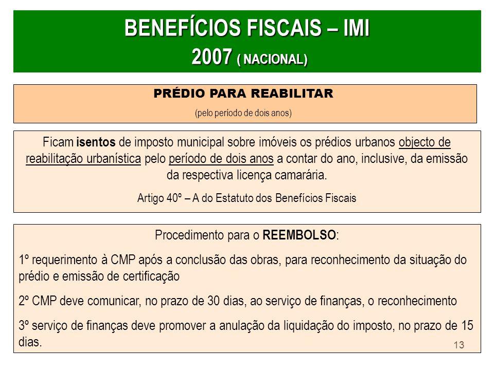 BENEFÍCIOS FISCAIS – IMI 2007 ( NACIONAL)