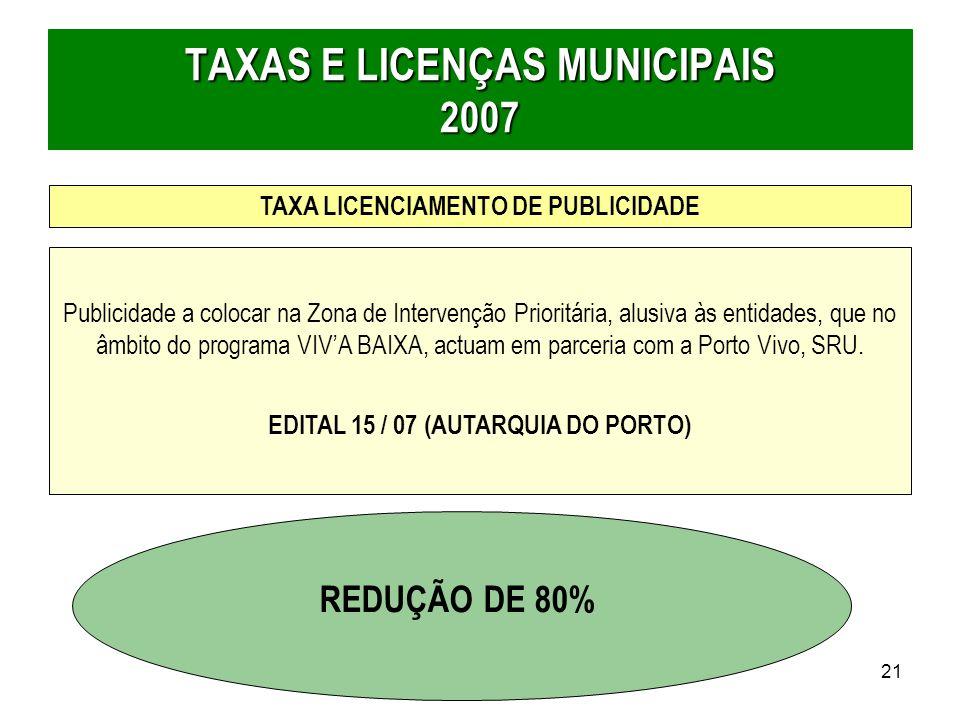 TAXAS E LICENÇAS MUNICIPAIS 2007