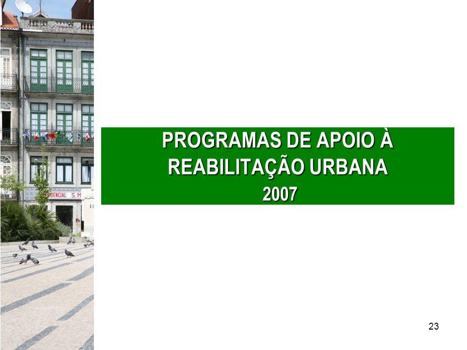 PROGRAMAS DE APOIO À REABILITAÇÃO URBANA 2007