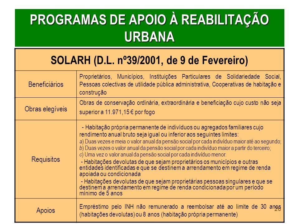 PROGRAMAS DE APOIO À REABILITAÇÃO URBANA
