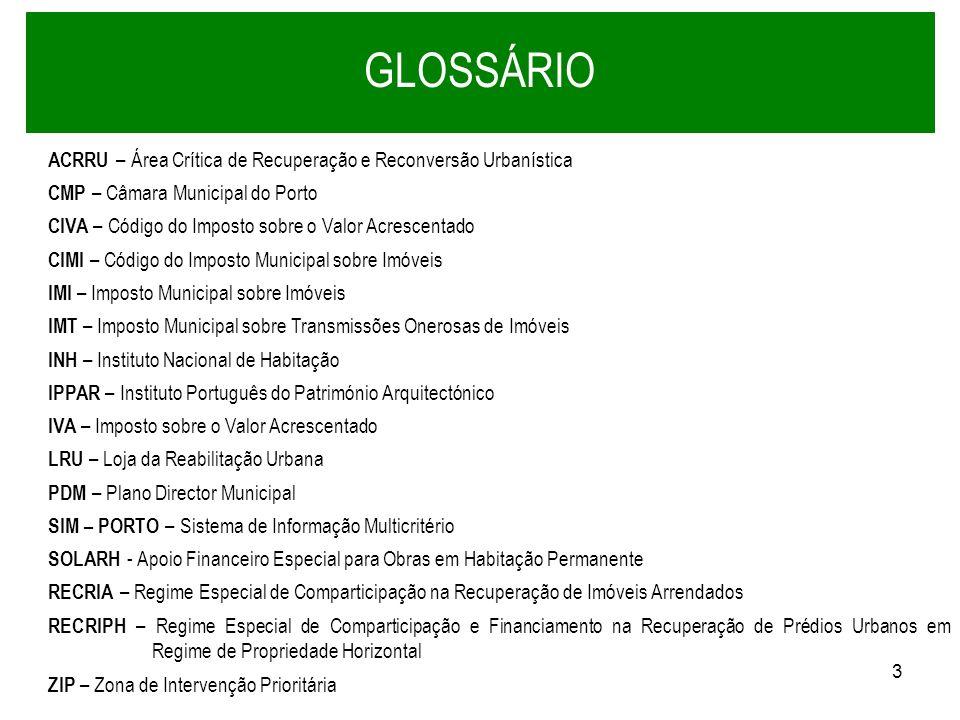 GLOSSÁRIO ACRRU – Área Crítica de Recuperação e Reconversão Urbanística. CMP – Câmara Municipal do Porto.