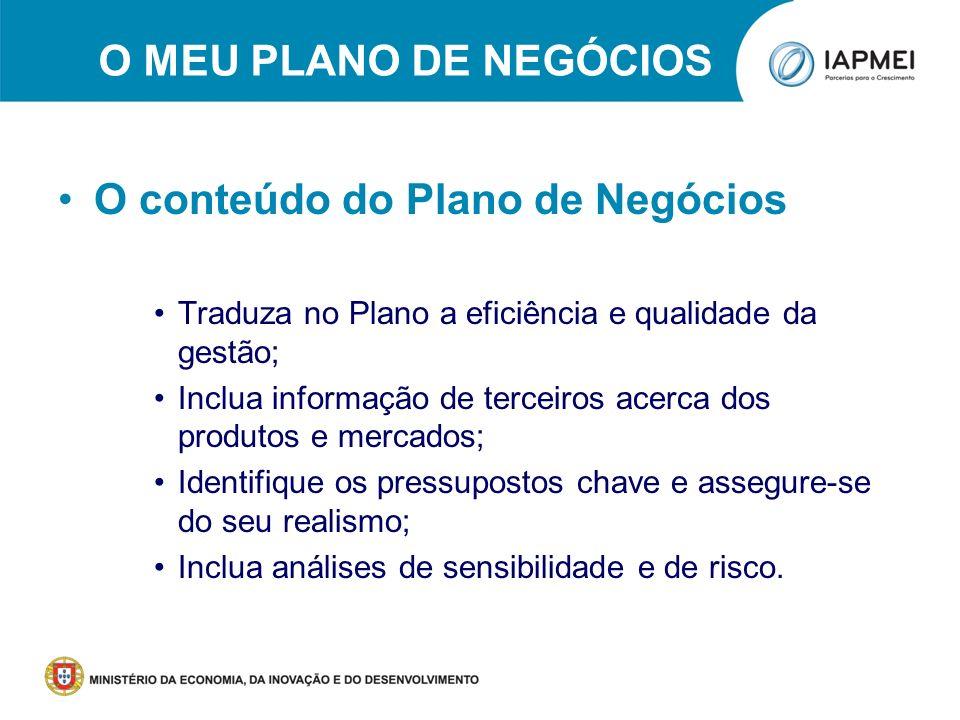 O conteúdo do Plano de Negócios