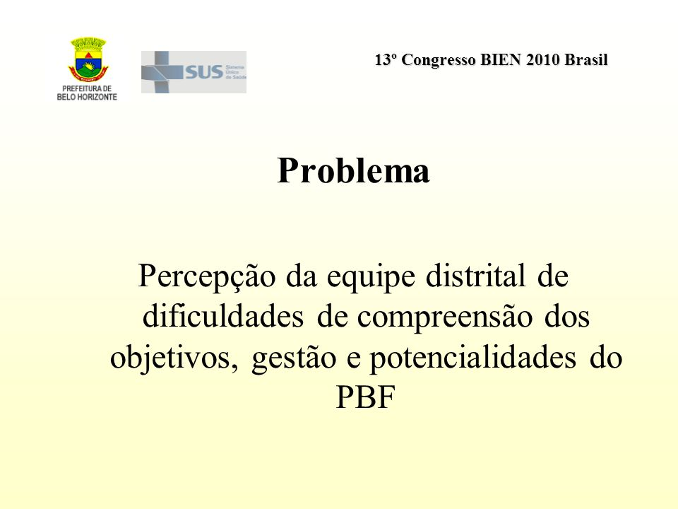 Problema Percepção da equipe distrital de dificuldades de compreensão dos objetivos, gestão e potencialidades do PBF.