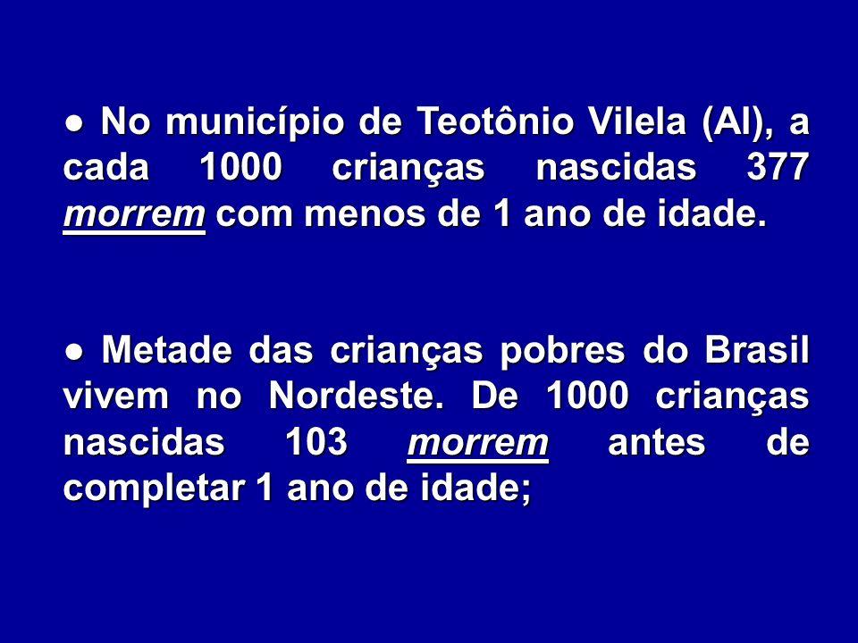 ● No município de Teotônio Vilela (Al), a cada 1000 crianças nascidas 377 morrem com menos de 1 ano de idade.