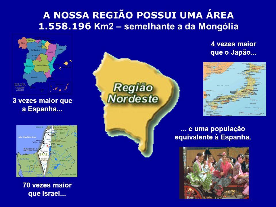 A NOSSA REGIÃO POSSUI UMA ÁREA 3 vezes maior que a Espanha...