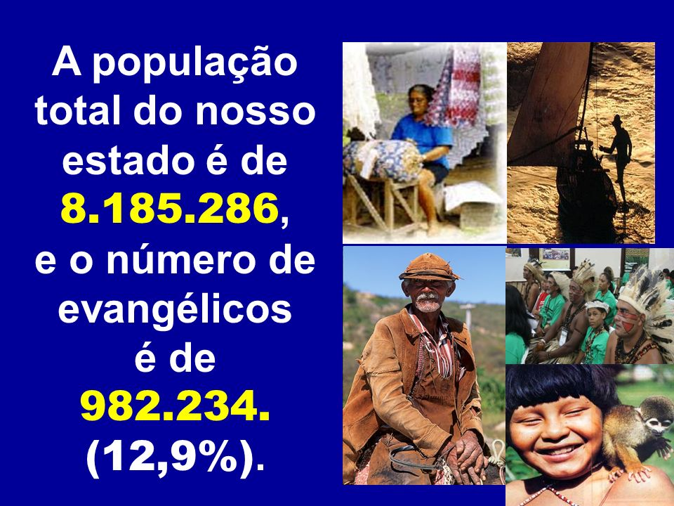 A população total do nosso e o número de evangélicos