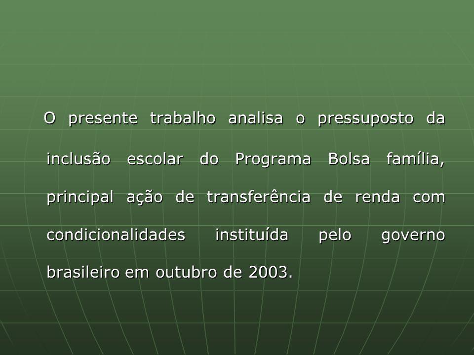 O presente trabalho analisa o pressuposto da inclusão escolar do Programa Bolsa família, principal ação de transferência de renda com condicionalidades instituída pelo governo brasileiro em outubro de 2003.