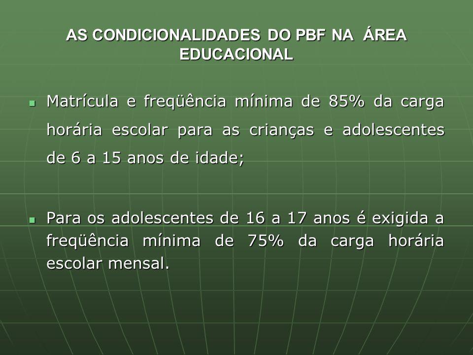AS CONDICIONALIDADES DO PBF NA ÁREA EDUCACIONAL