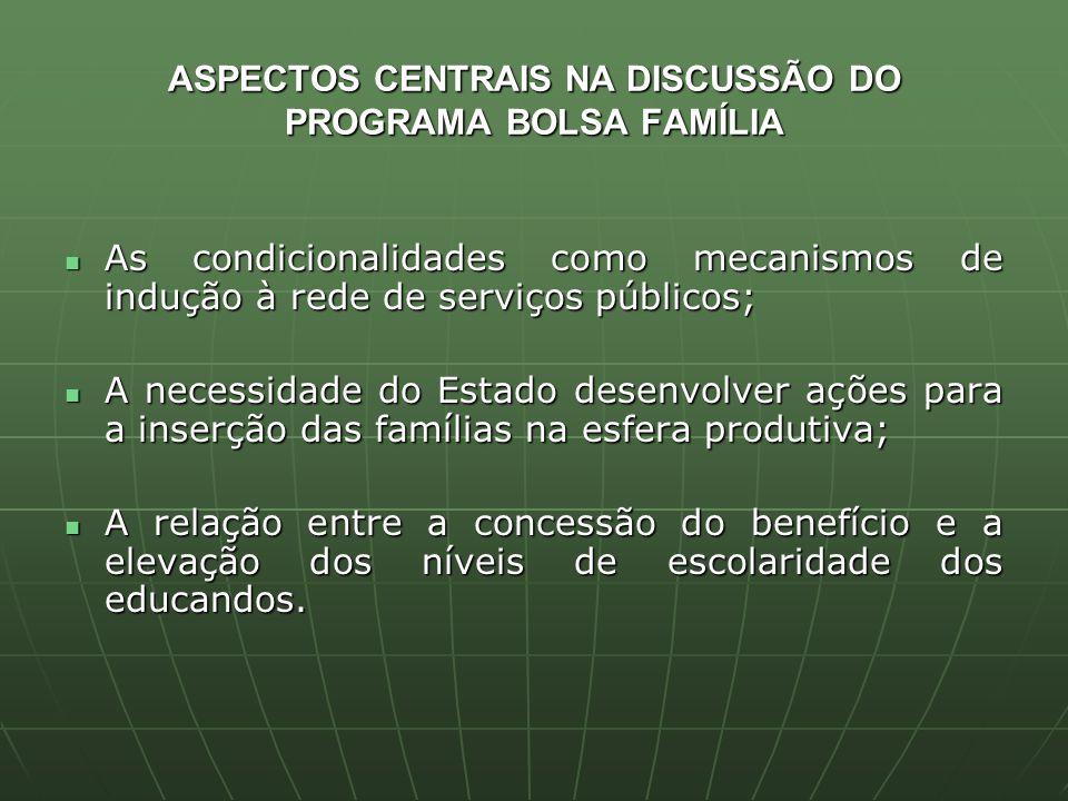 ASPECTOS CENTRAIS NA DISCUSSÃO DO PROGRAMA BOLSA FAMÍLIA